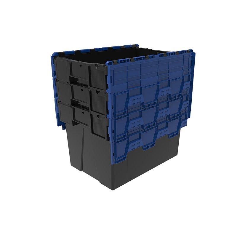pinottava musta muuttolaatikko kannella