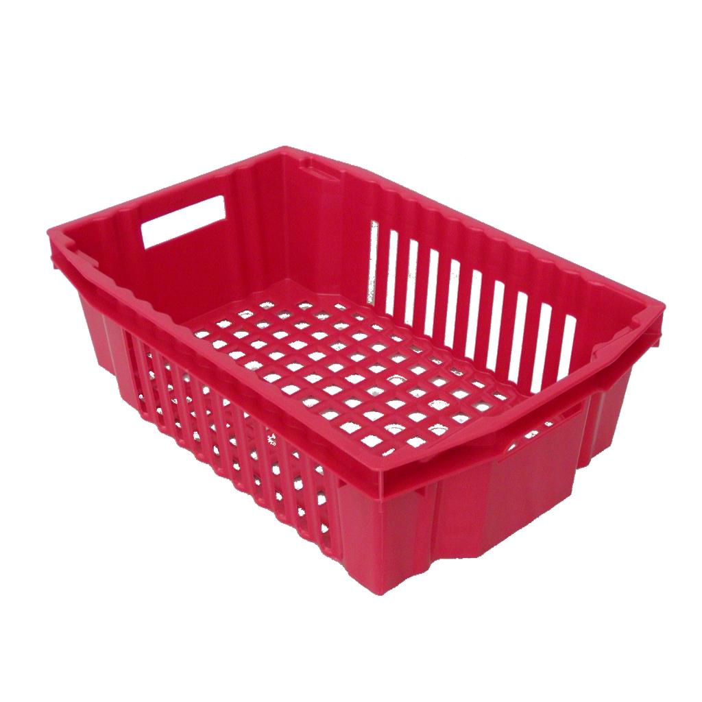 punainen ritiläpohjainen ja säleikköseinäinen vihanneslaatikko muovista