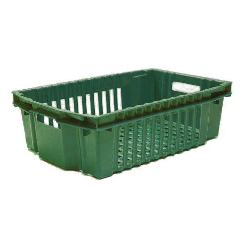 Vihreä muovilaatikko ritiläpohjalla ja säleikköseinillä vihanneksille