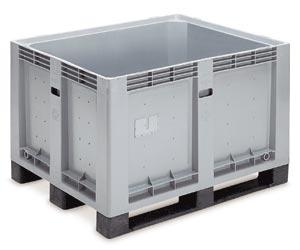 harmaa 600 litrainen umpinainen kuormalavalaatikko muovista juoksuilla