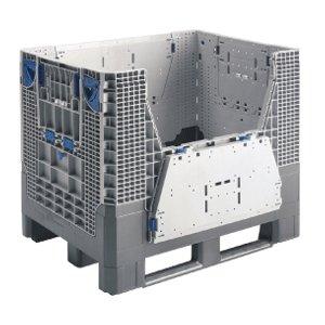 muovinen kokoontaittuva kuormalavalaatikko osittain avautuvilla seinillä ja juoksuilla