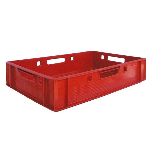 Elintarvikekelpoinen päällekkäinpinoutuva punainen muovilaatikko