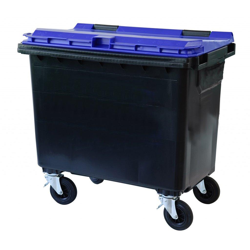 660 litrainen laatikkomainen jäteastia jossa kumipyörät