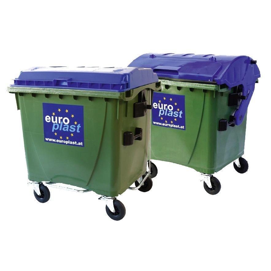 iso vihreä laatikkomainen jäteastia jossa kumipyörät ja sininen kansi