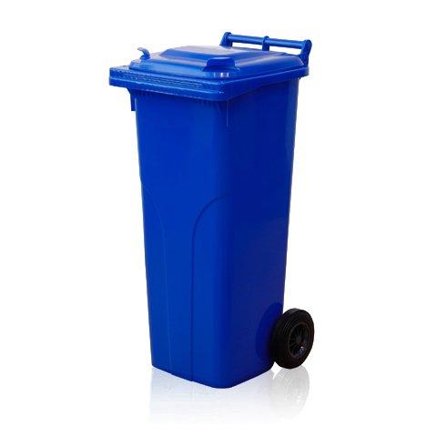 140 litrainen sininen korkea ja kapea jäteastia joka soveltuu koneelliseen tyhjennykseen