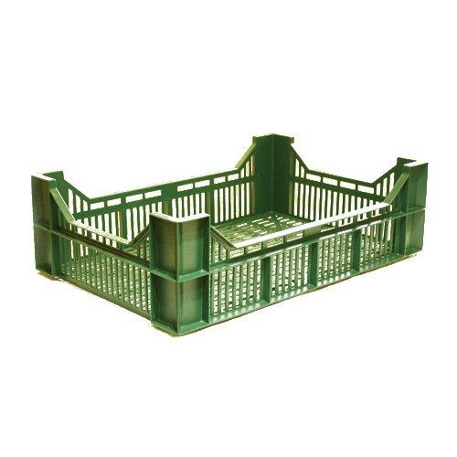 vihreä matala muovinen ritilälaatikko vihanneksille, marjoille tai sienille