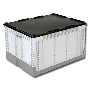 musta muovilaatikko kokoonmenevään laatikkoon