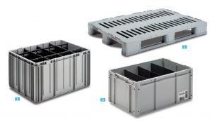 Räätälöityjä muovilaatikkoratkaisuja teollisuuden käyttöön, laatikko RFID tunnisteella, laatikko väliseinillä ja automaattiseen varastointijärjestelmään räätälöity laatikko