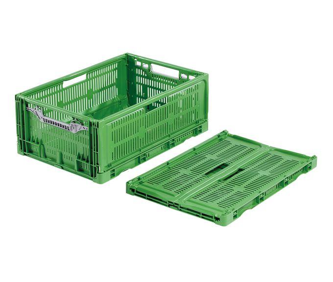 kasaan taiteltava ritilälaatikko muovista erityisesti elintarvikkeille