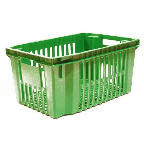 Sisäkkäin ja päällekkäin pinoutuva, ritiläpohjainen ja säleikköseinäinen vihreä muovilaatikko vihanneksille