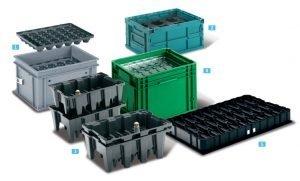 mittatilaus muovilaatikoita teollisuuden käyttöön; pinottavat tarjottimet, kokoontaittuva laatikko, sisäkkäinpinoutuvat tarjottimet, kehikkotyökalujärjestelmä